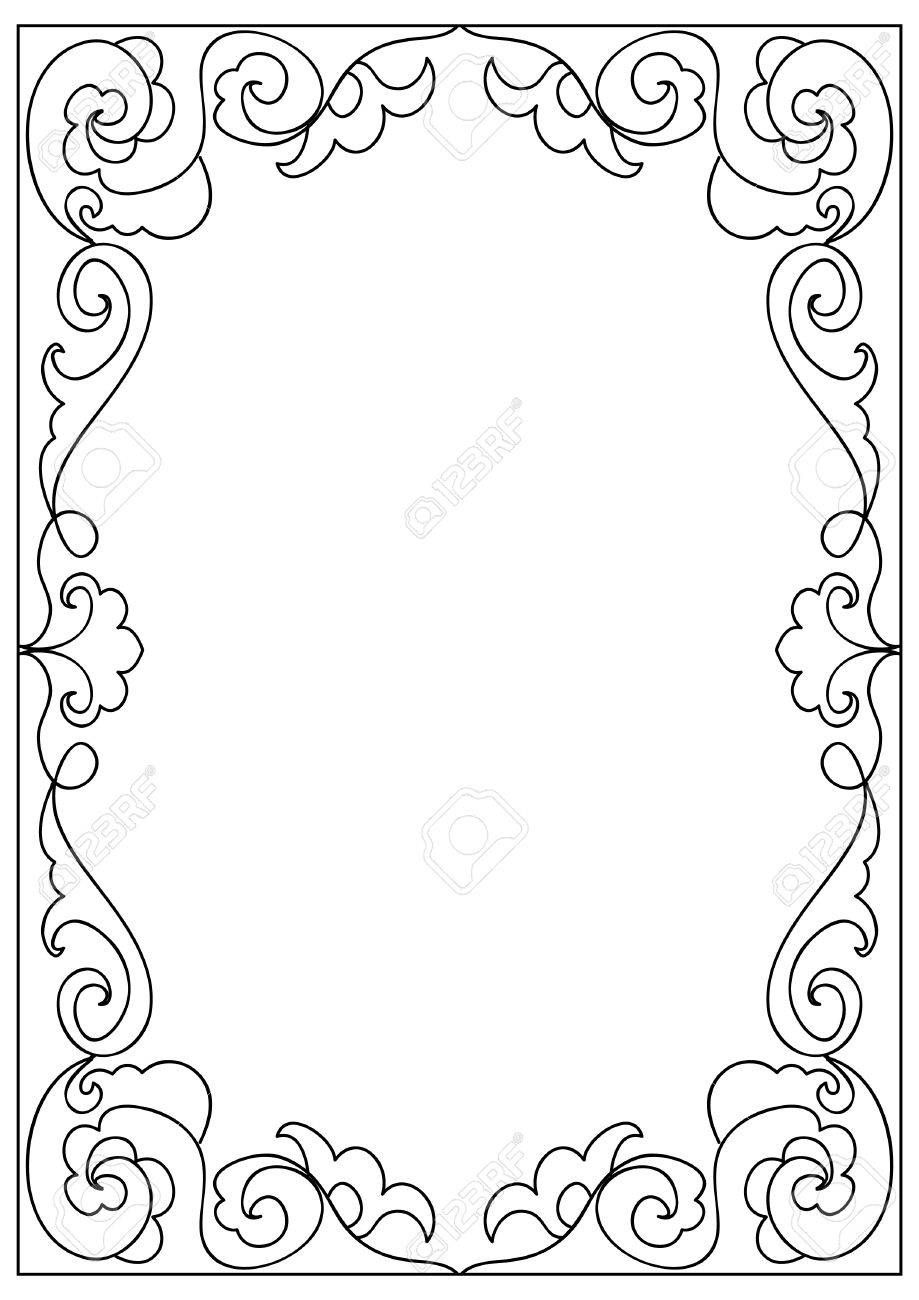 Decorative Abstract Square A4 Format Coloring Page Frame Isolated Page Frames Coloring Pages Picture Frame Colors