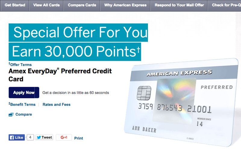 30k amex everyday preferred offer targeted compare