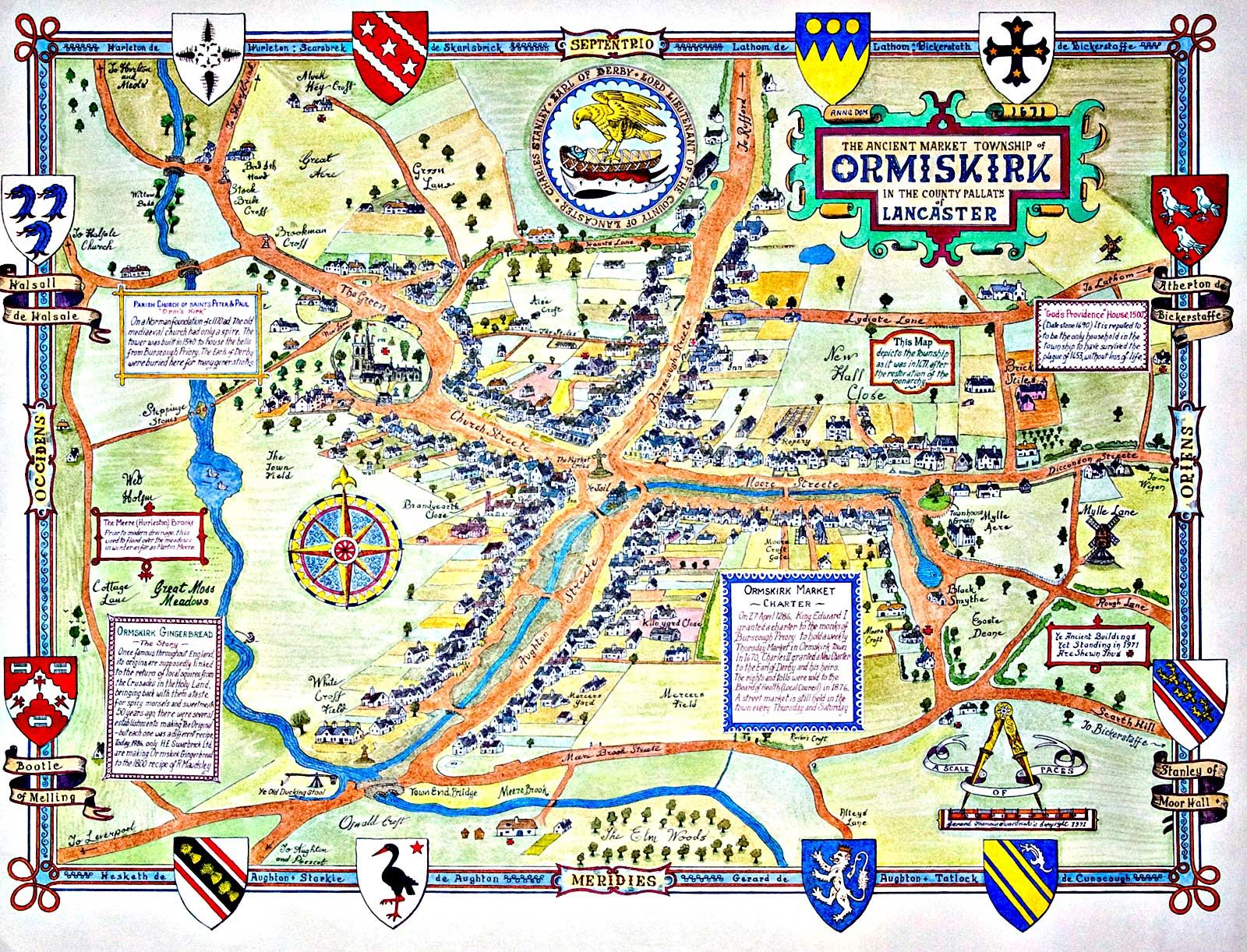 Map Of England Lancaster.Old Ormskirk Town Map British Old Maps Map Burnley