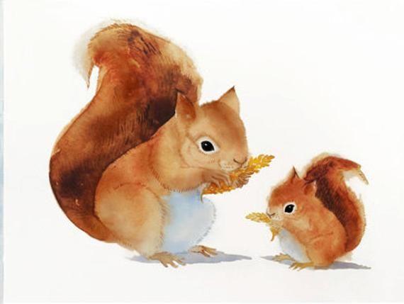 Cute Woodland Squirrel Animal Print Watercolor Nursery Gift | Etsy