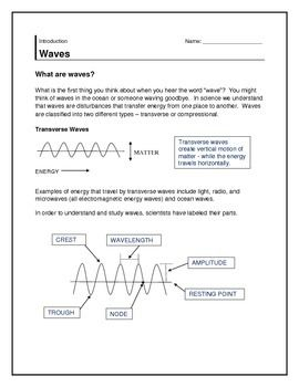 Waves Information Worksheets Earth Science Activities