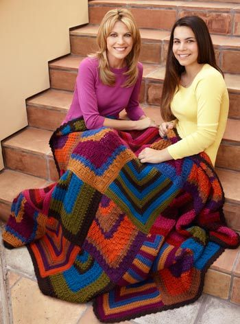 Mitered Diamonds Throw By Vanna White Free Crochet Pattern