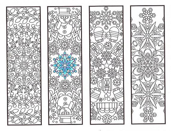 Christmas Coloring Bookmarks Winter Mandalas Coloring For Adults