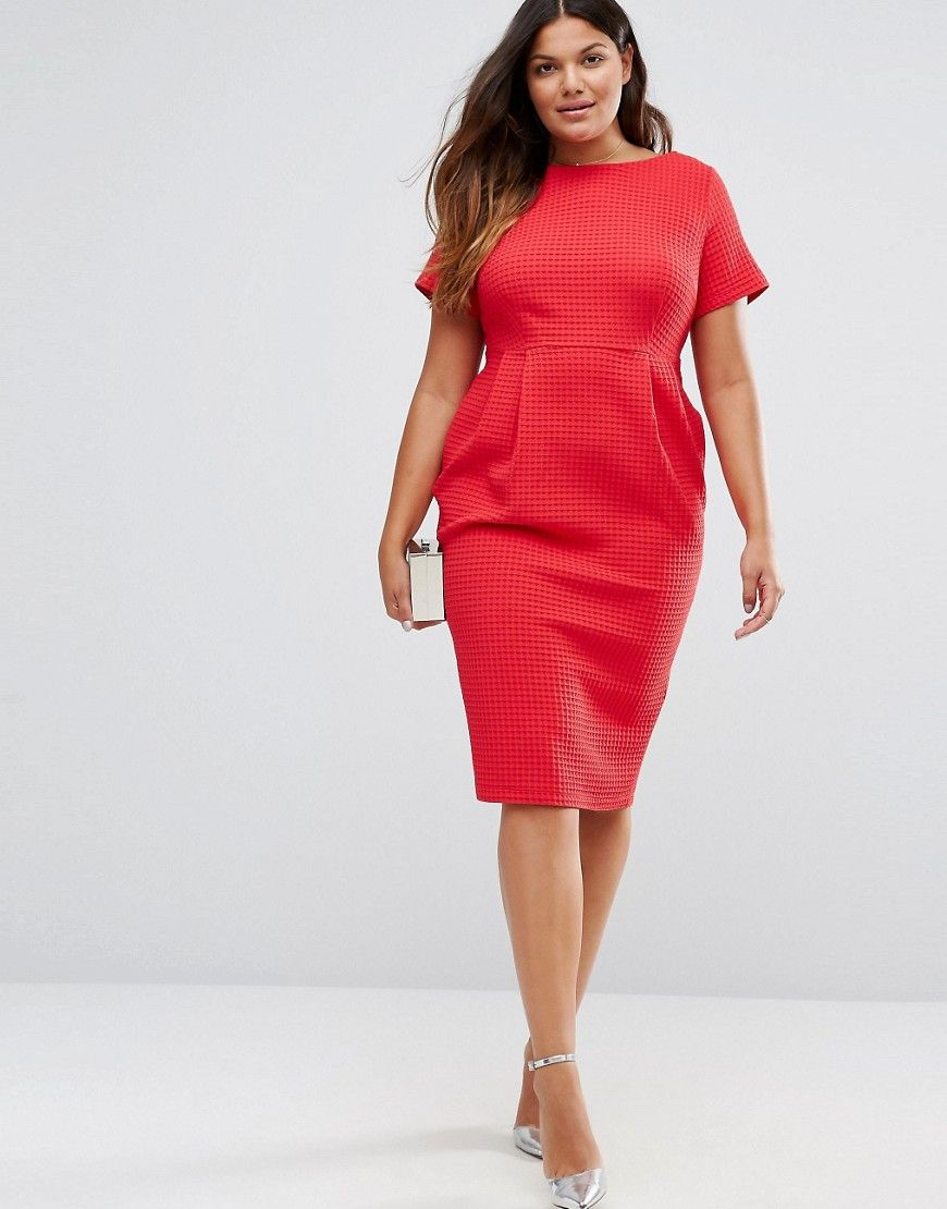 ASOS CURVE Midi Wiggle Dress in Texture (Plus Size) | Plus Size ...