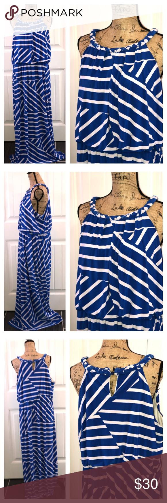 Blue White Maxi Dress Size 18 20 Maxi Dress Size 18 Blue White Maxi Dress White Maxi Dresses [ 1740 x 580 Pixel ]