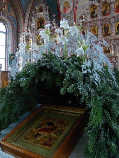 УКРАШЕНИЕ ИКОН ЦВЕТАМИ   храмовая флористика   Church flowers ... 0787855499a