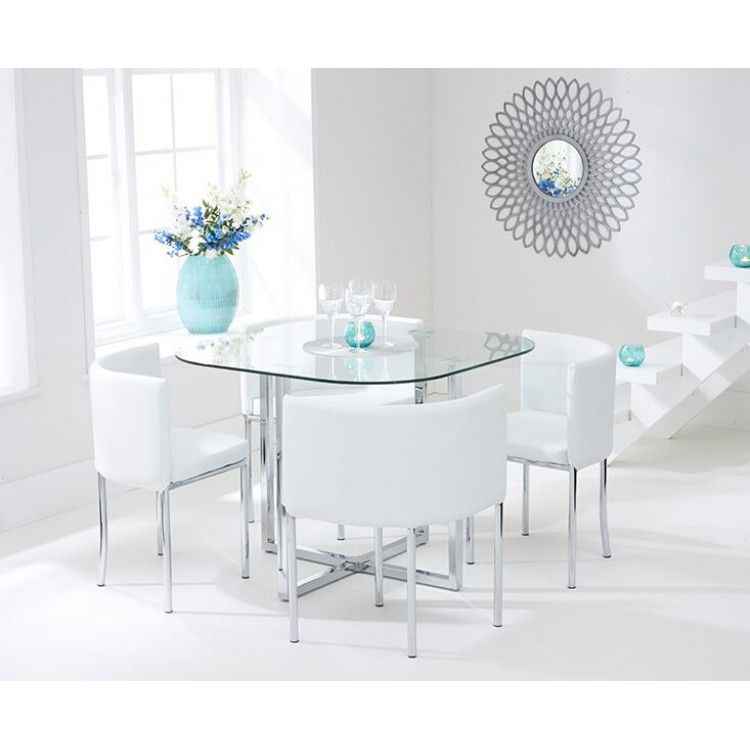 Abingdon 100cm Glass Table with 4 Cream High Back Stools White