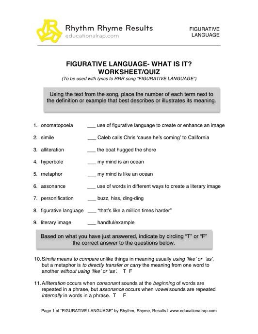 Figurative language review worksheet middle school