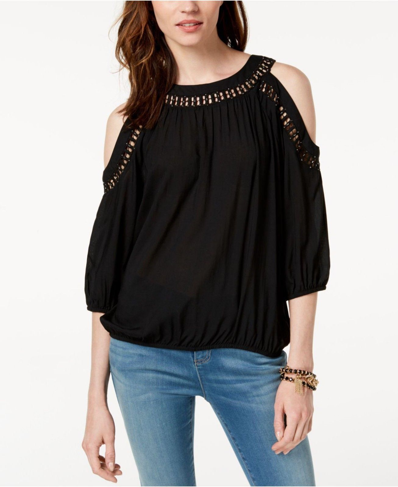c540280ad00969 INC International Concepts Women s Cold-Shoulder Top (L