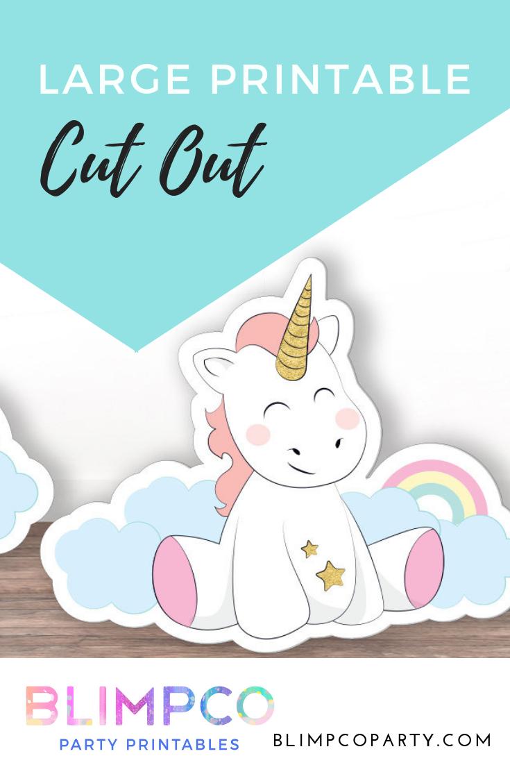 Large Unicorn Cutout PRINTABLE Cardboard Cut Out
