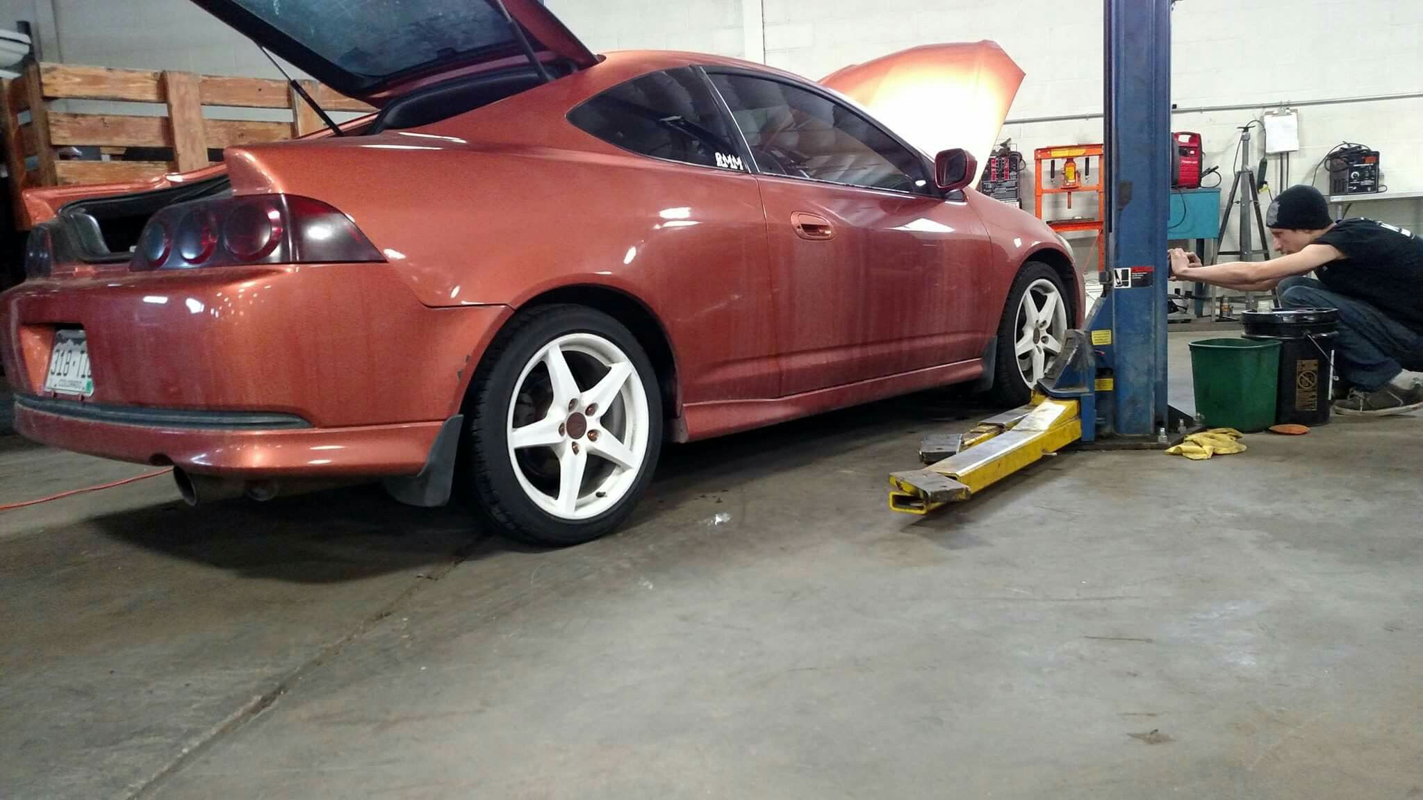 2005 Acura Rsx Lowered 2 5 Inches On Skunk 2 Coilovers Lower Tie Bar Rear Strut Bar Poly Sway Bar Bushings 7 Inch Led L Led Light Bars Acura Rsx Coilovers
