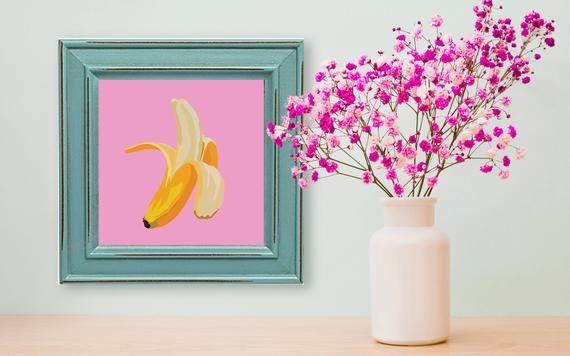 Stampa Banana e fiori Idea regalo Parete stampa