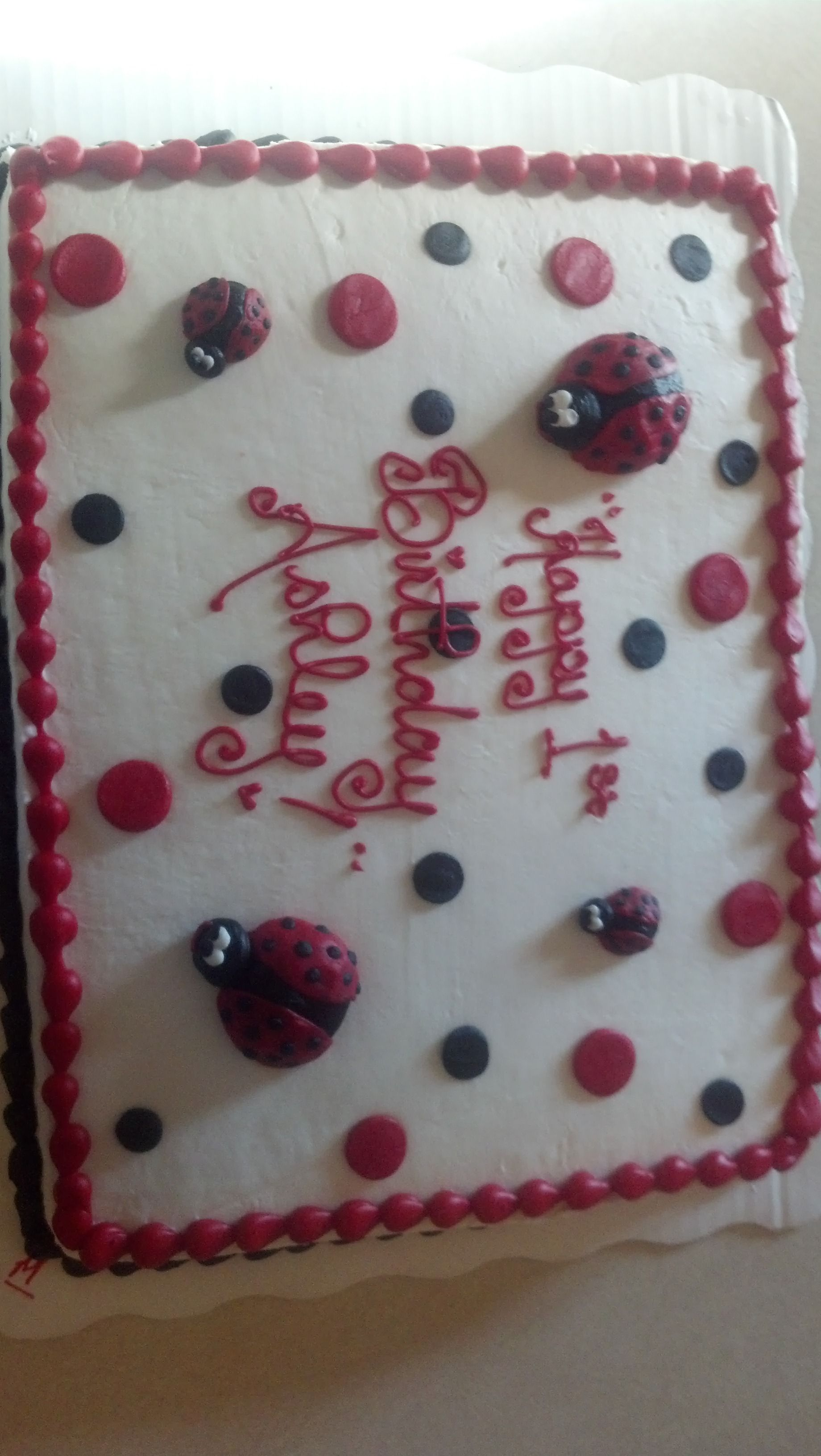 Sheet Cake Made By Wal Mart Lady Bug First Birthday Party