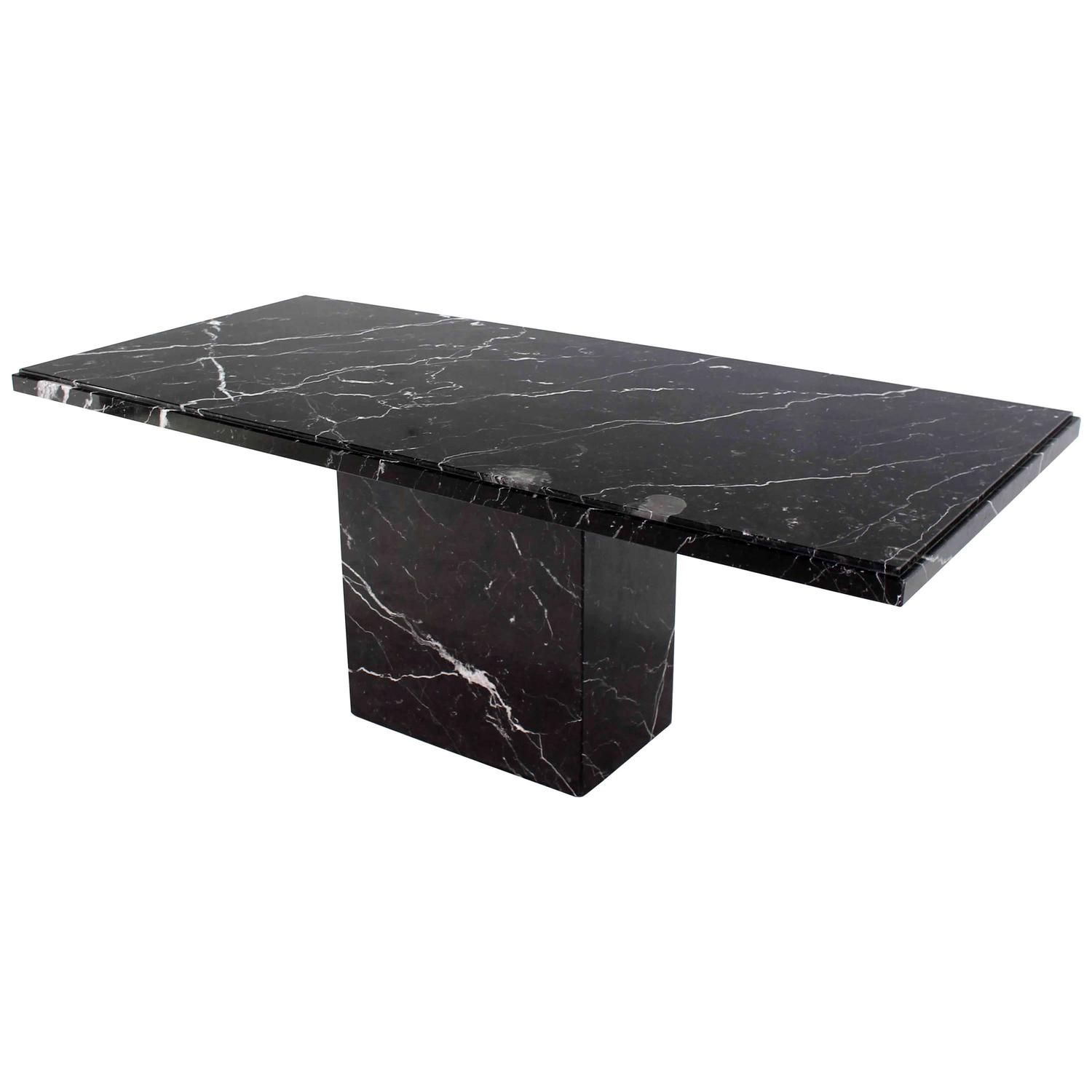 Single Pedestal Black Marble Top Dining Table 1stdibs Com