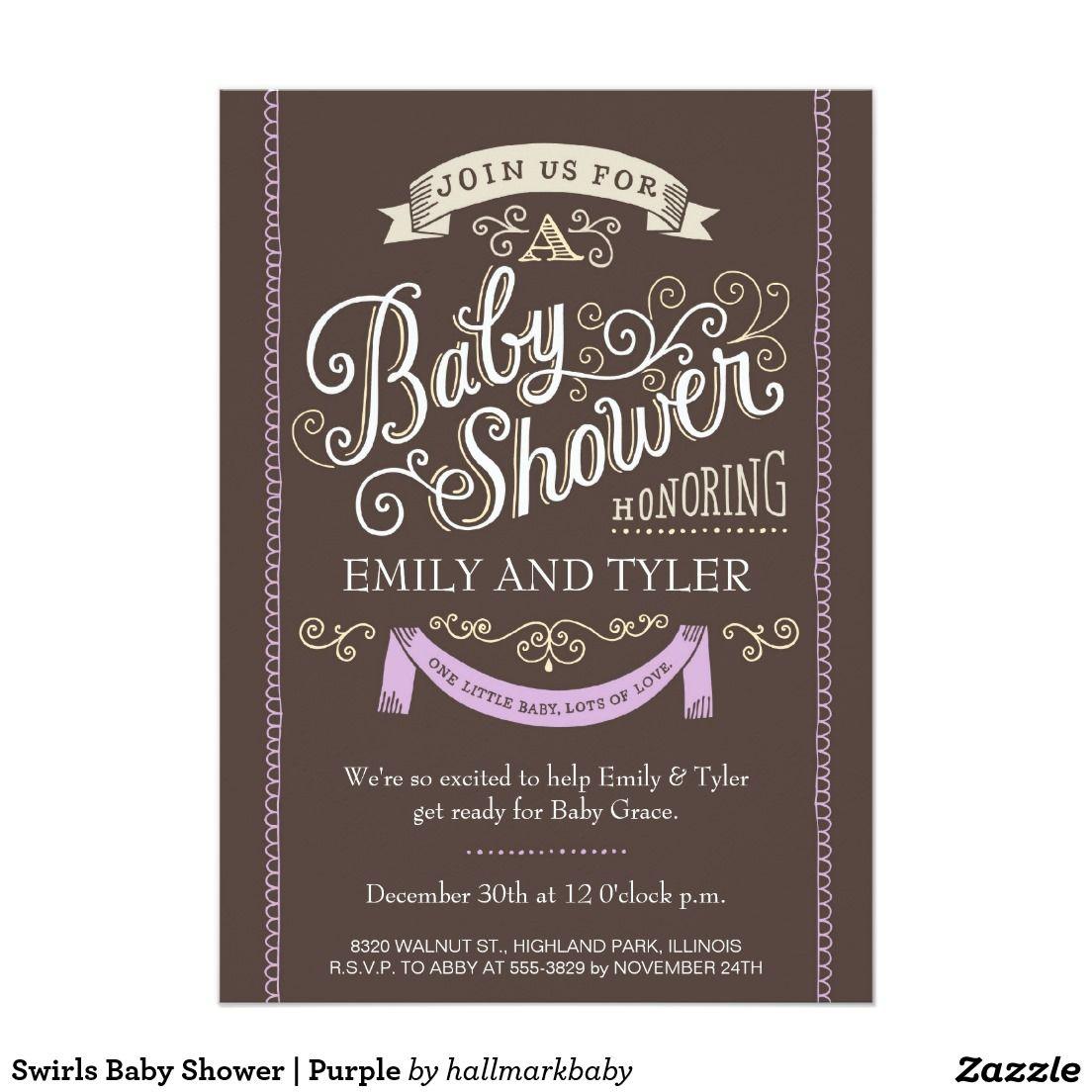 Swirls Baby Shower Purple Card Artwork Designed By Hallmark Baby