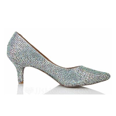 Real Leather Cone Heel Closed Toe Pumps With Rhinestone (047040918).  Sufficient bling?