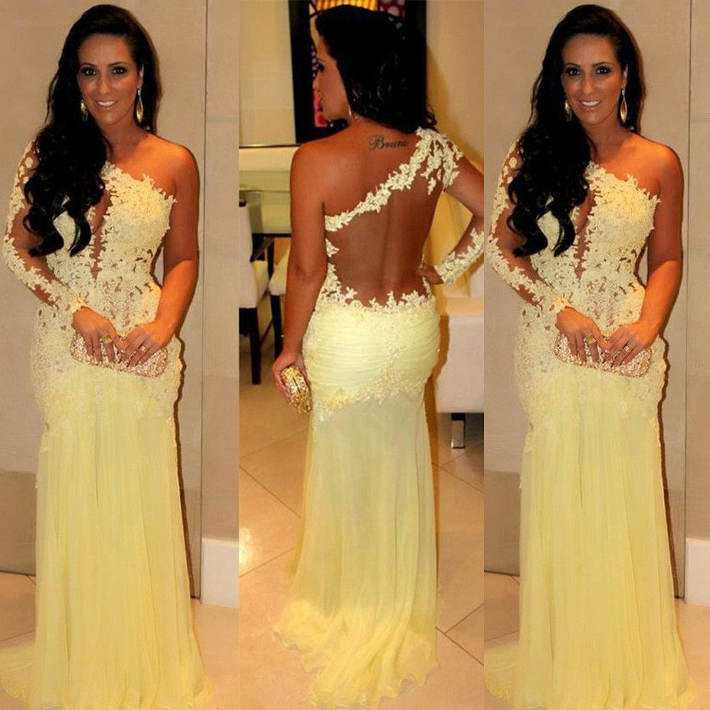 One shoulder sexy sheer yellow lace long mermaid chiffon prom