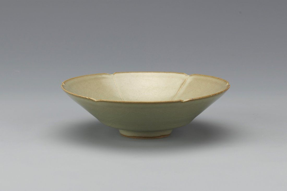 Chinese Celadon Porcelain Bowl With Six Hexagon Scalloped Flower Petal Shape On The Rim Diameter 5 Height 1 25 Porcelain Bowl Celadon Chinese Pottery