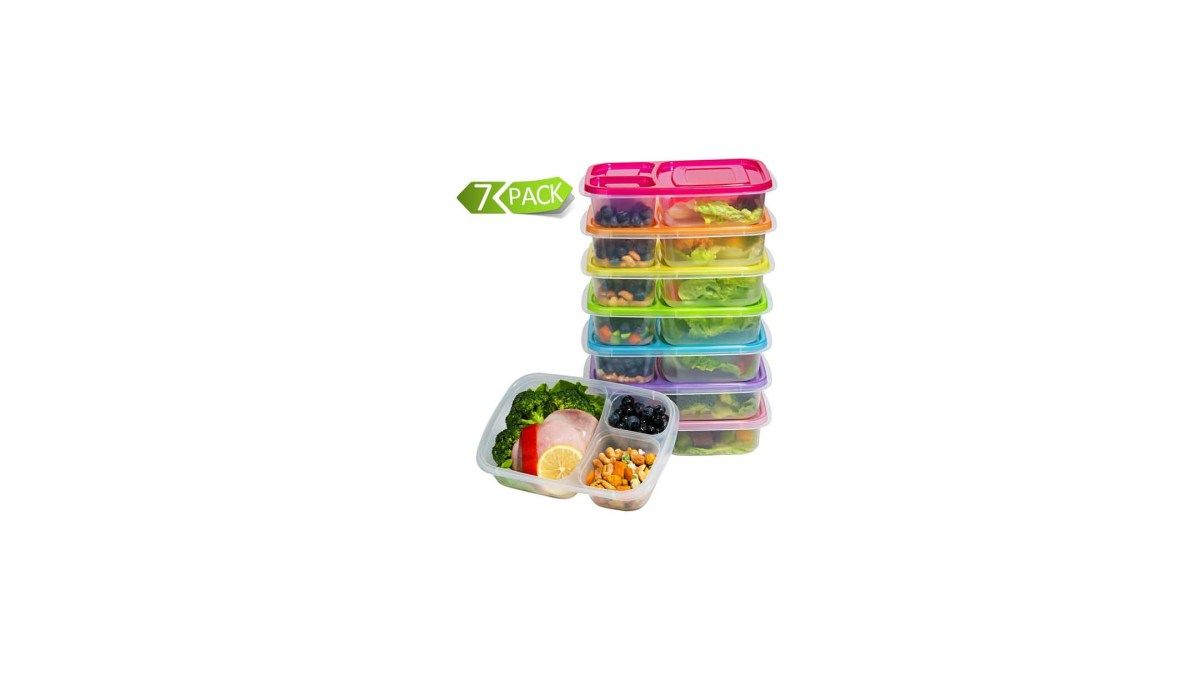 Set of 7 Plastic BPA Free 3-Compartment Bento Box with Lids for$14.98 at Amazon