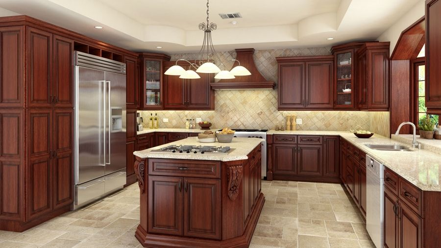 Walnut cherry kitchen cabinets remodeling los angeles for Cherry vs maple kitchen cabinets