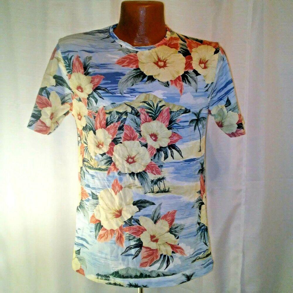 4705516a Zara Man Mens Hawaiian Multicolored Short Sleeve Casual Shirt Medium #Zara # Hawaiian