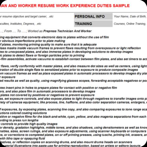 Prepress Technician Resume Examples  HttpWwwResumecareerInfo