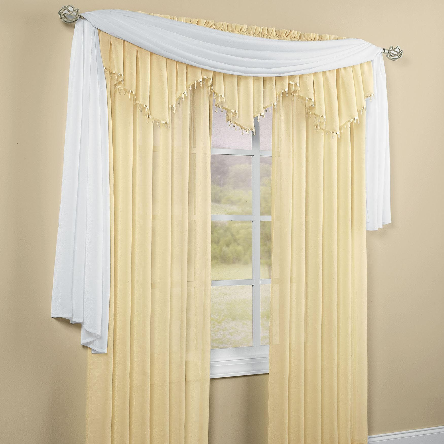 Sheer Scarf Valance Window Treatments Part - 24: Window · Crushed Voile Sheer Scarf Valance