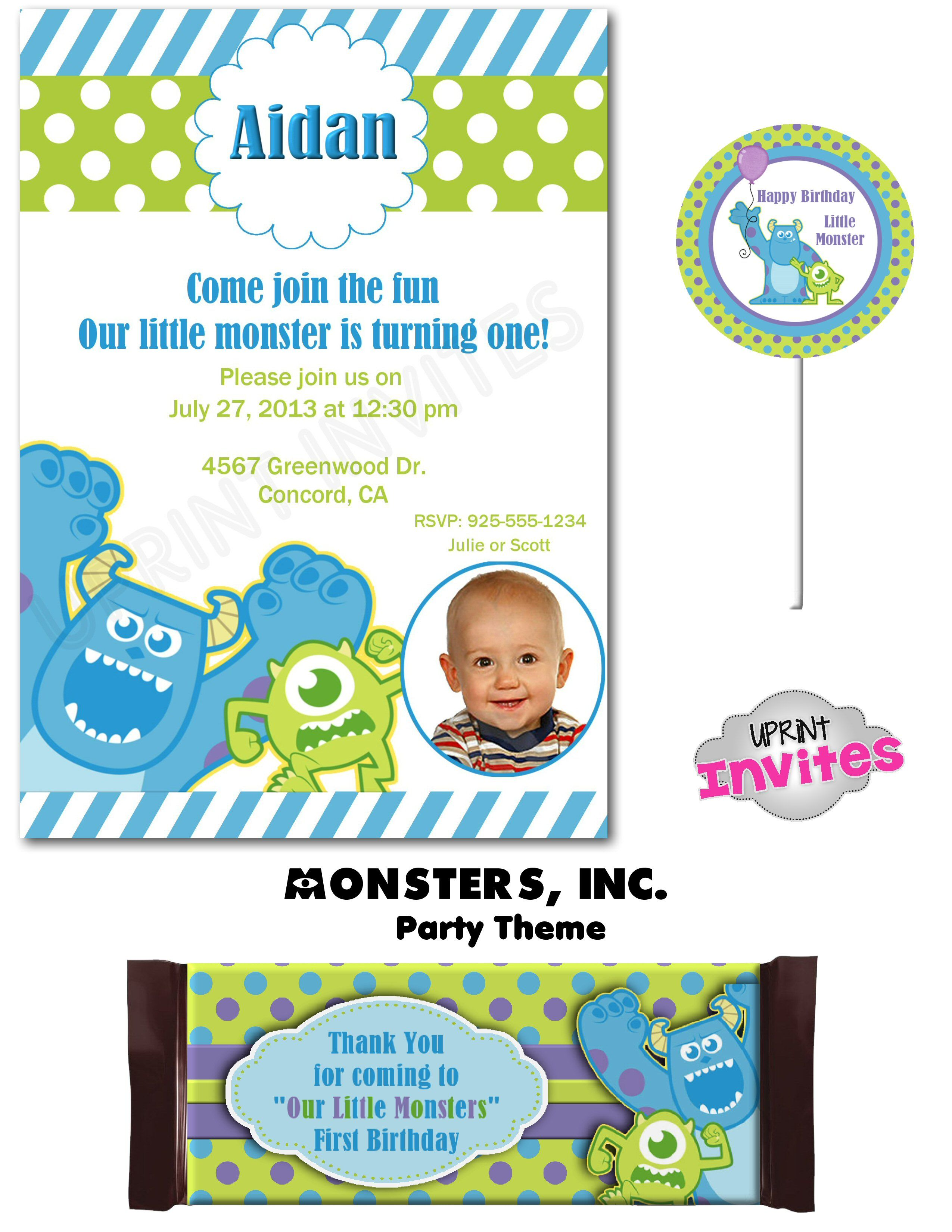 Monsters Inc First Birthday Printable Party Pack 5x7 Invite - Candy ...