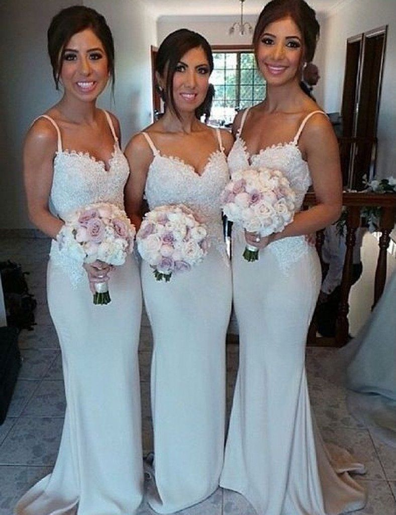 White Bridesmaid Dress, Spaghetti Straps Bridesmaid Dress,Lace Top ...