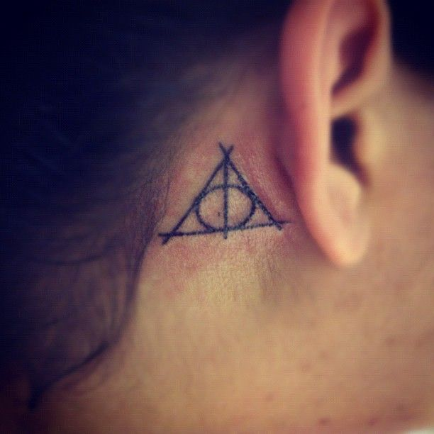 Harry Potter Deathly Hallows Symbol Tattoo Behind The Ear Please