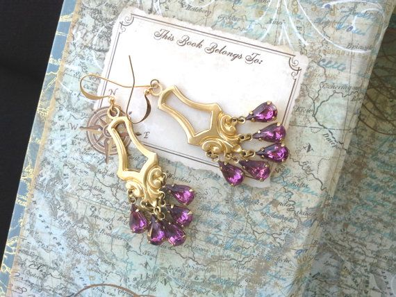 Emperss earrings in Amethyst. by SavannahChristiana on Etsy, $29.00