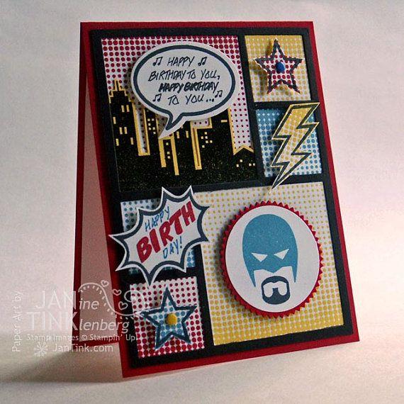 Super Cool Comic Book Style Happy Birthday Greeting Card Handmade – Birthday Card Book