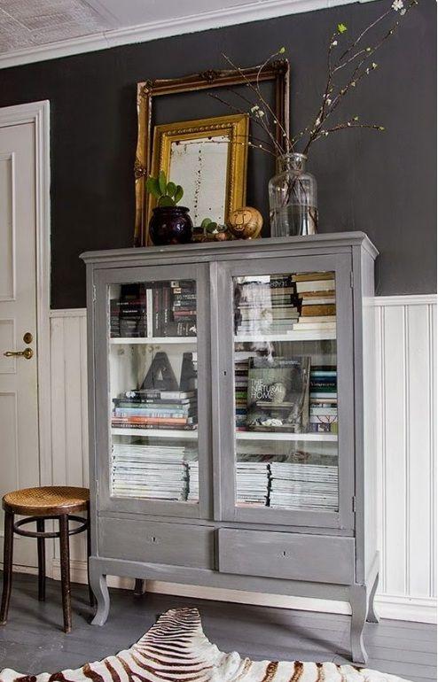 Vitrina librero gris con pata isabelina estilo vintage - Muebles antiguos cordoba ...