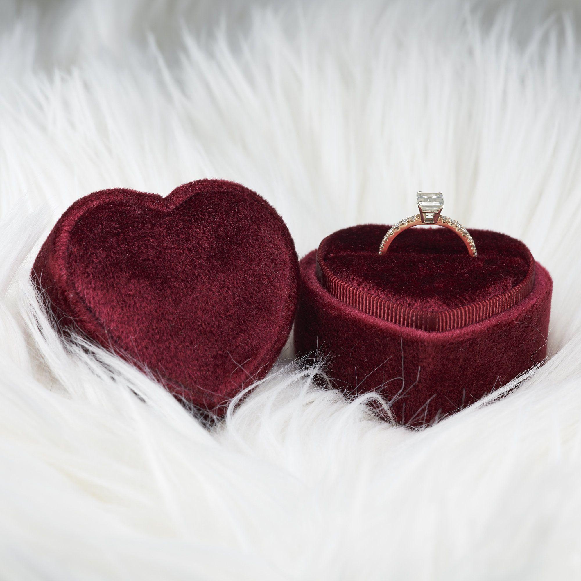 Double ring box Gold beige velvet Triple ring box Wedding gift Monogram ring box Vintage ring box Square velvet ring box