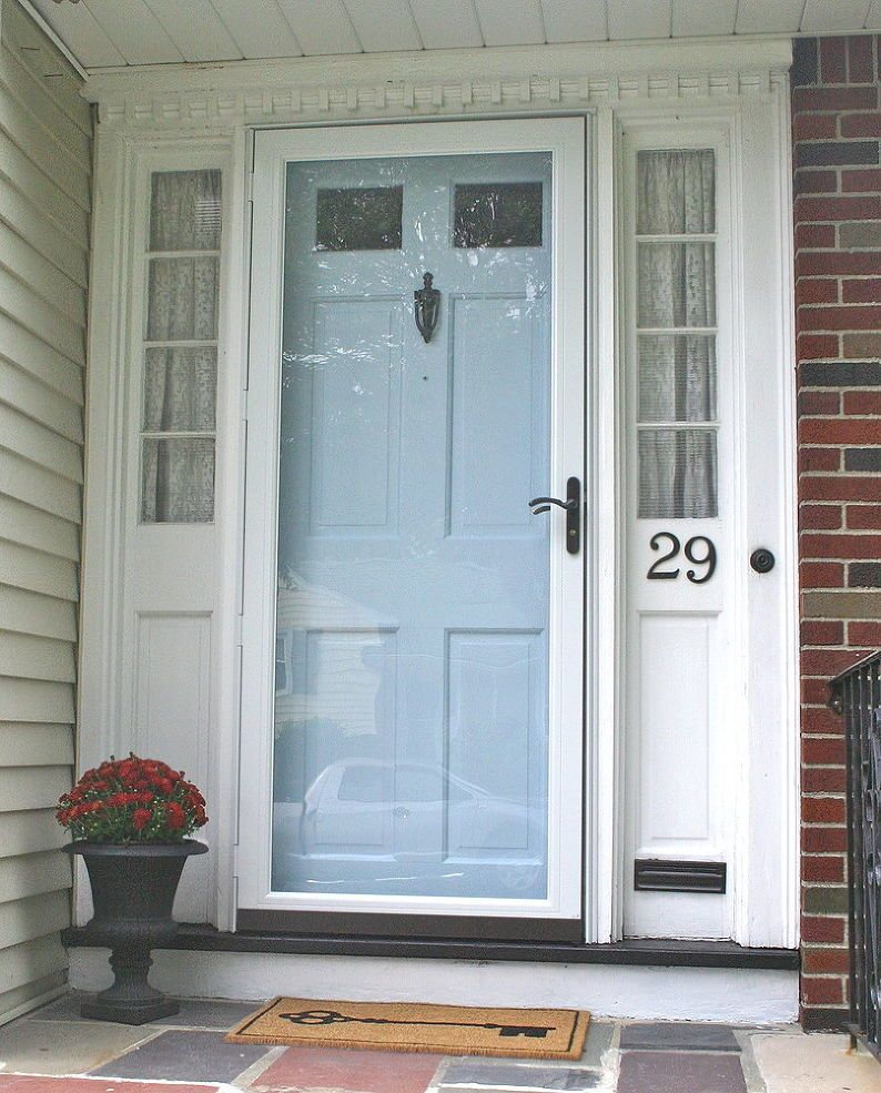 Updating Your Exterior Hardware For Six Dollars Storm Door Makeover Front Door Makeover Storm Door Hardware