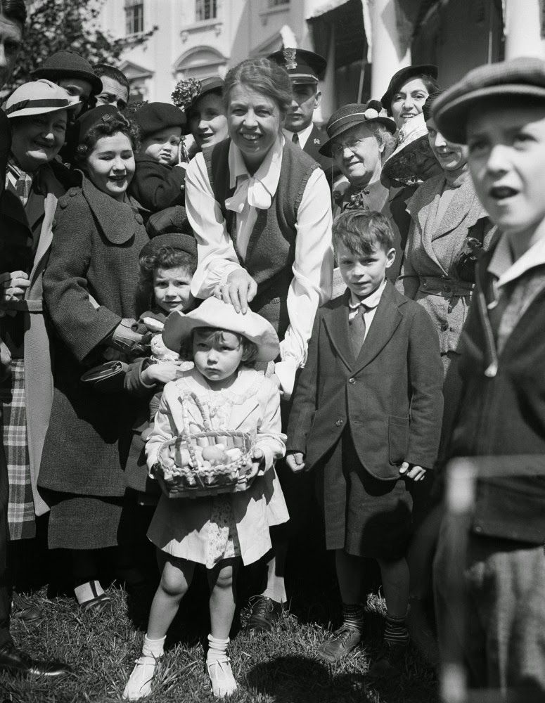 Eleanor Roosevelt greets children at the White House Easter Egg Roll in 1936.