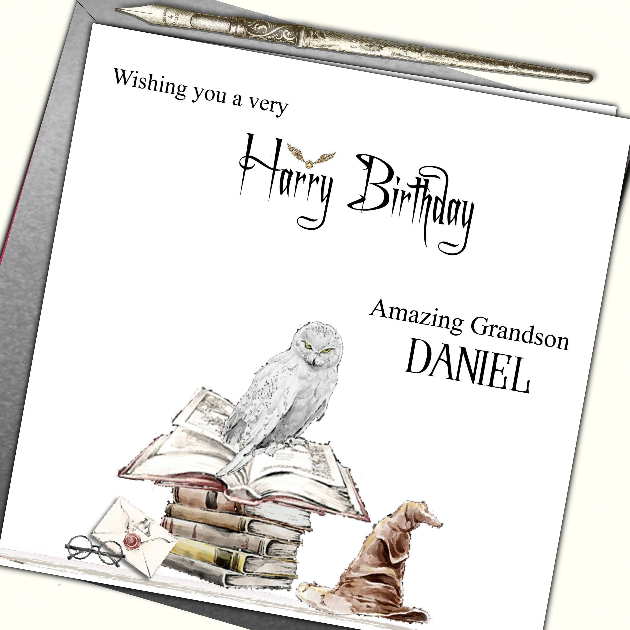 Personalised Harry Potter Inspired Birthday Card Nephew Grand Etsy Harry Potter Birthday Cards Personalized Birthday Cards Birthday Cards