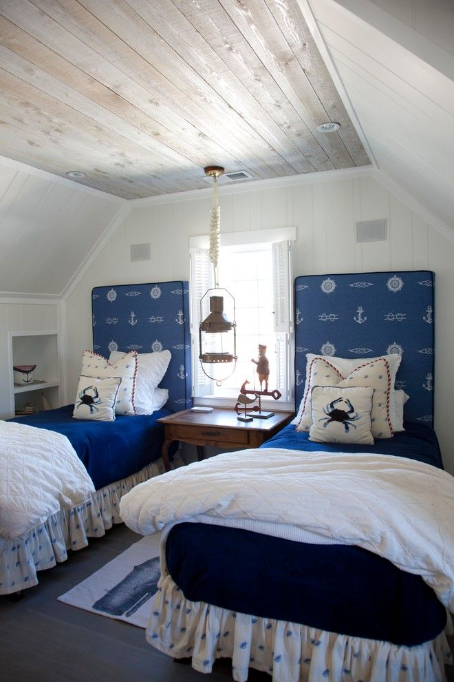 marvelous beach themed bedrooms | small beach themed shared attic room with weathered wood ...