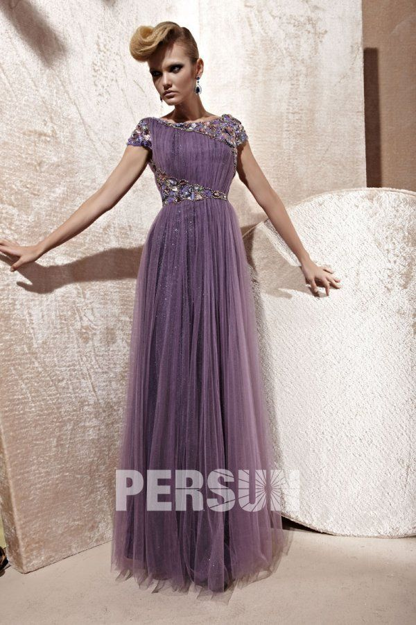 Amazing A-line Boatneck Cap Sleeve Tulle Floor Length Evening Gown ...