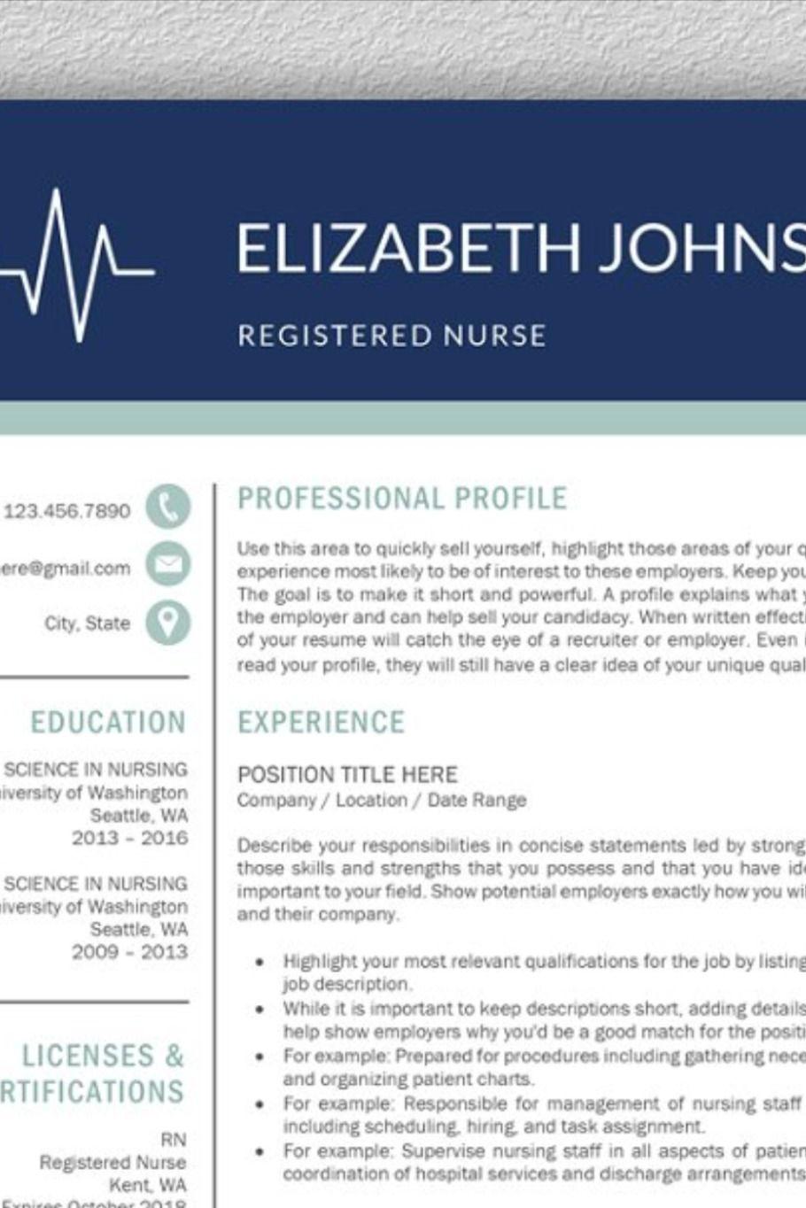 Nurse Resume Medical CV Template in 2020 Best resume