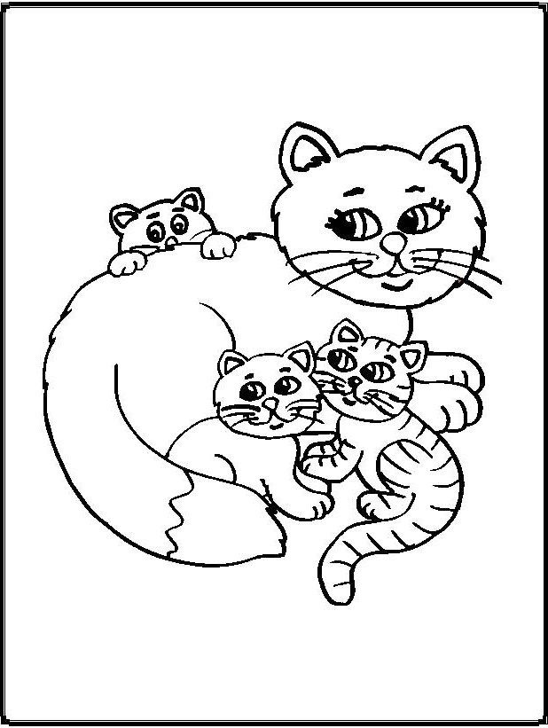 Cats And Chicks Coloring Pages Cat Coloring Page Coloring Pages