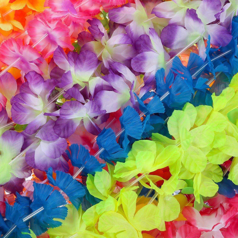 Hestya 50 Pieces Hawaiian Flower Leis Floral Necklace Leis Vibrant Colors Assortment Beach Theme Party Supplies Decorations Favors Ornaments