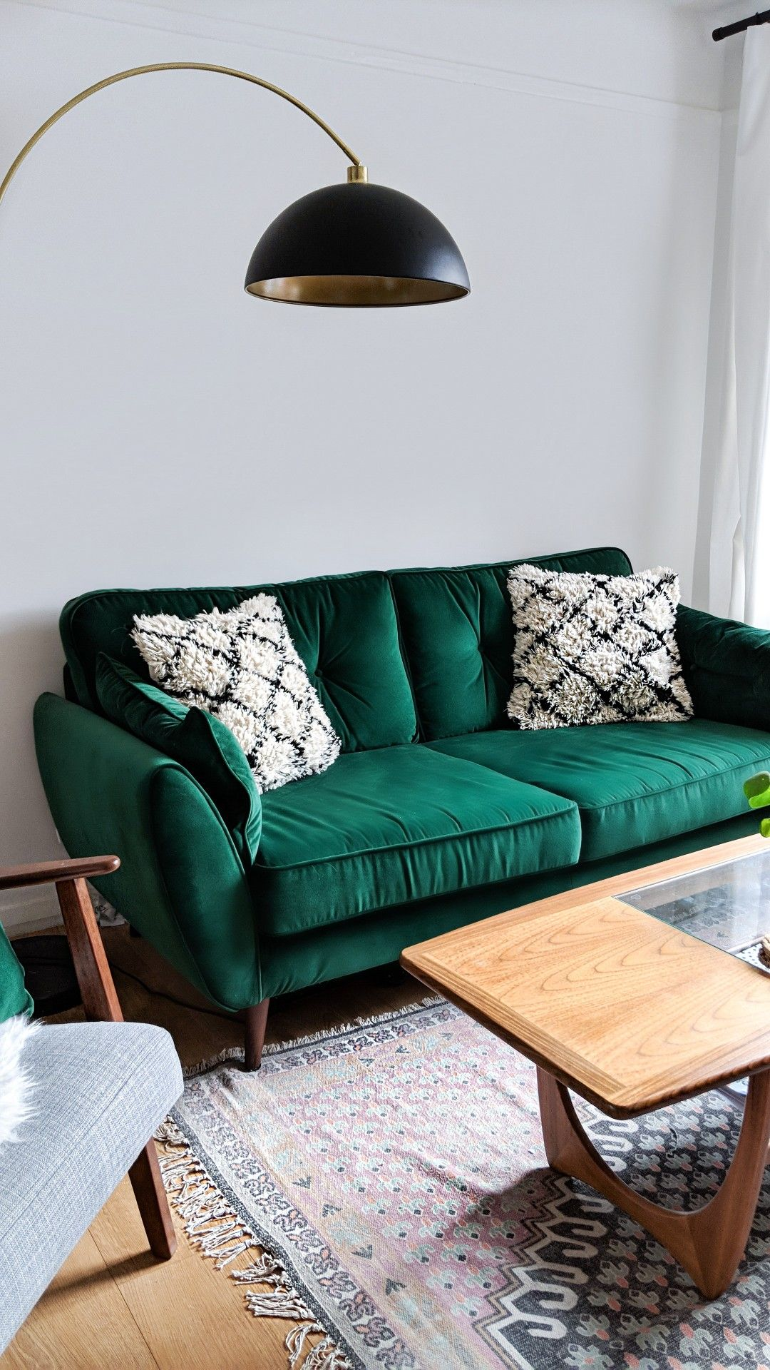 dfs vine sofa review leather repair kit reviews mid century living room styled with key pieces from french connection including their signature zinc in velvet green and pink cotton poppy rug
