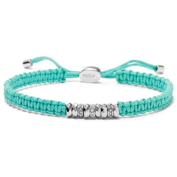 Fossil Woven Wrist Wrap - Teal ($28) ❤ liked on Polyvore