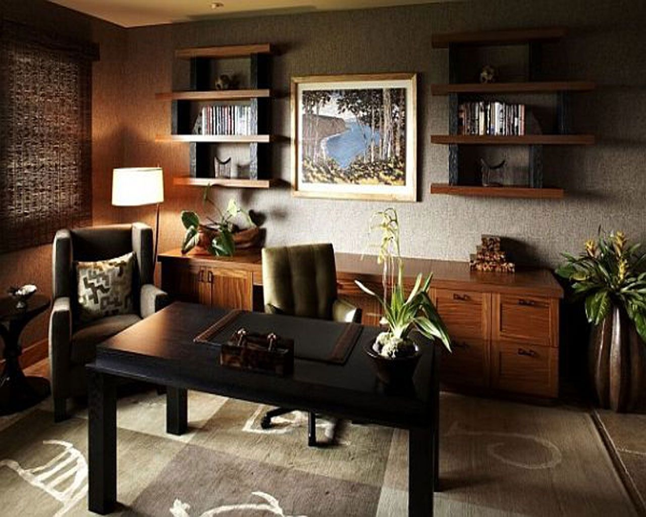 Modern home office design with leather chair home for Modern home office design