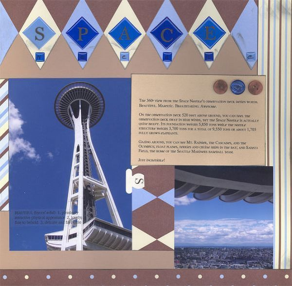 Space Needle by KittyKatz @2peasinabucket -- wanted to echo the space-age, futuristic lines of the Needle in my page design, so I went for a sleek, modern look.