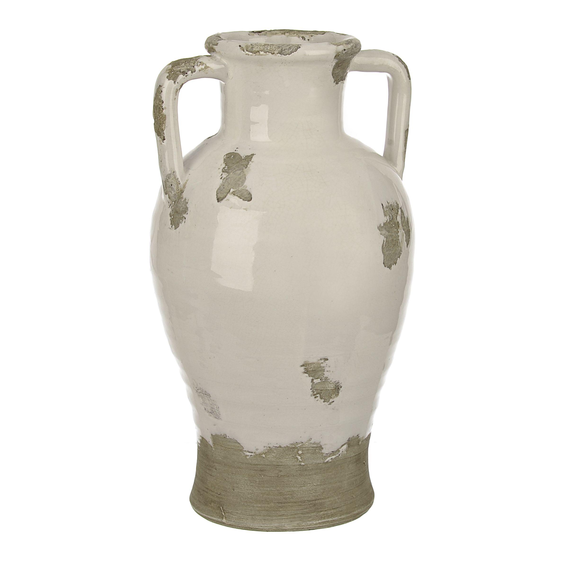 Distressed White Ceramic Jug Vase In 2019 Modern Farmhouse White