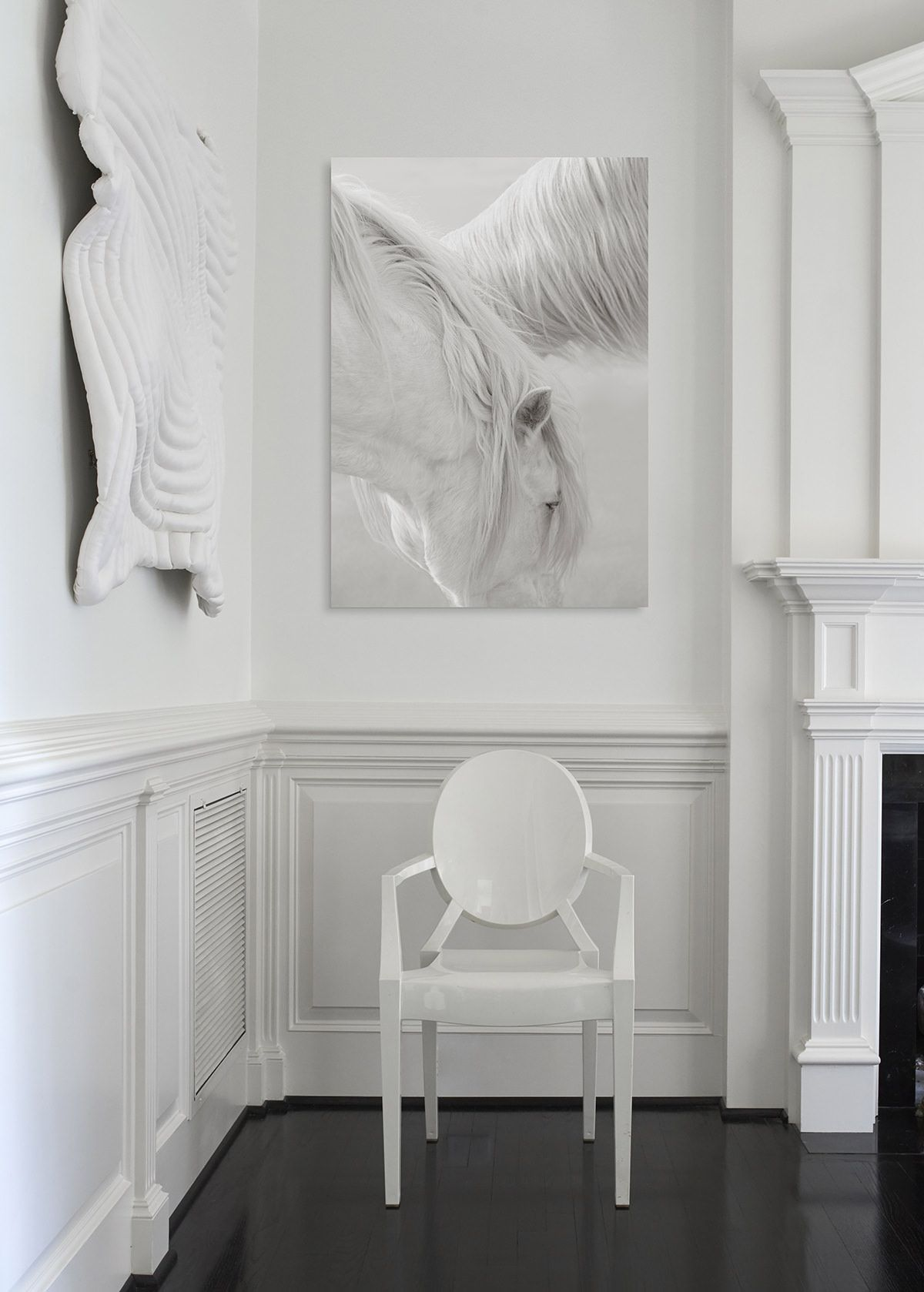 Elevate a clean and crisp living room with a timeless photo in a ...