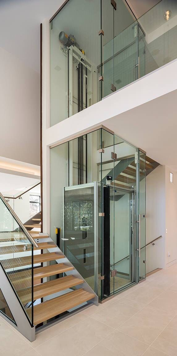 Pikesville Md Residential Glass Elevator And Stairs Www   Lift And Staircase Design   Stair Railing   Glass Elevator   U Shaped Staircase   Staircase Ideas   Staircase Remodel