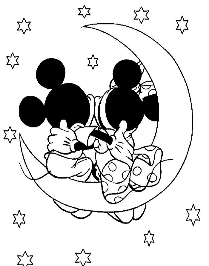 Mickey And Minnie Valentine Night Coloring Pages Valentines